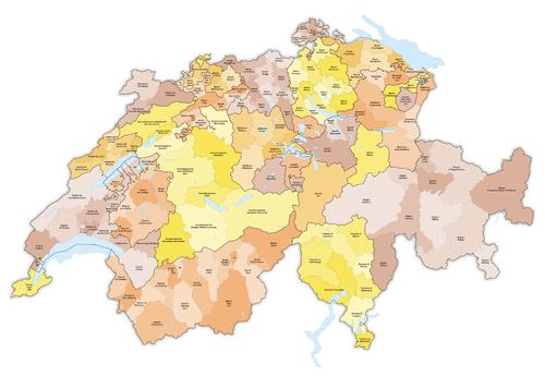 Karte Bezirke der Schweiz farbig 2016