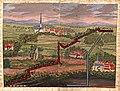 Karte der Gegend um Münster heute Kelkheim, Oberliederbach, Niederhofheim und dem Hof Hausen vor der Sonne mit der notariell festgestellten Grenze zwischen Münster und Niederhofheim, 1706.jpg