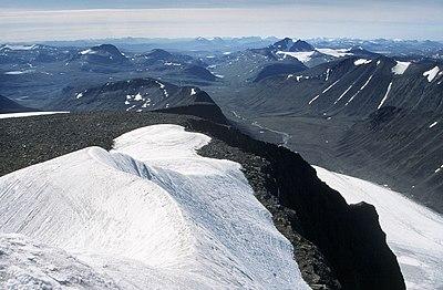 Kebnekajse, utsikt från sydtoppen