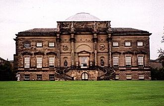 Piano nobile - At 18th-century Kedleston Hall the piano nobile is placed above a rusticated ground floor, and reached by an external staircase. The uppermost windows indicate that the upper floor is of far lower status.