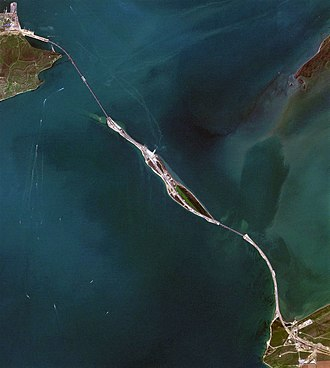 Tuzla Island - Satellite photo of the Strait of Kerch with the Tuzla Island in the middle.