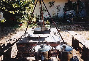 Gulyásleves - An outdoor cauldron in Hungary, used for cooking gulyás