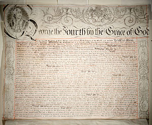 Royal charter - Charter granted by King George IV in 1827, establishing King's College, Toronto, now the University of Toronto