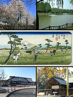 Top left: Ishidokaba Cherry blossom in Toko Temple, Top right: A fountain in Kitamoto General Park, Center: Konosu Traditional Inn, Nakasen Road in Edo period, Bottom left: Kitamoto Station, Bottom right: Tenjinchigi Shrine