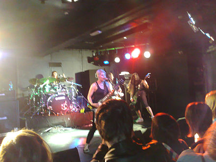 All-female heavy metal band Kittie performing in 2008 Kittie at the Cathouse in Glasgow.jpg