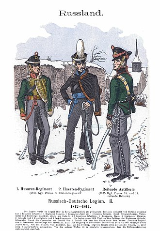 Russian–German Legion - Soldier of the 1st hussar regiment, 2nd hussar regiment and horse artillery