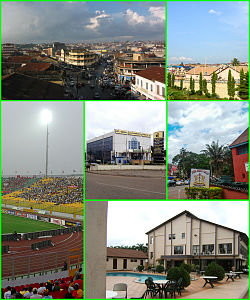 Top: Aerial view of Central Business District (CBD) in Kumasi and private housing estates in Kumasi; Bottom left: Kumasi Sports Stadium, Bottom: Ghana Commercial Bank (GBC) Building in Kumasi, Ghana Armed Forces (GAF) Museum in Kumasi and luxury real estates in Kumasi.