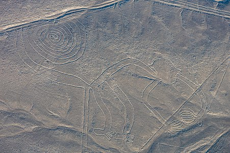 "Aerial view of the ""Monkey"", one of the most popular geoglyphs of the Nazca Lines"