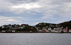 Lødingen village viewed from the ferry from Bognes