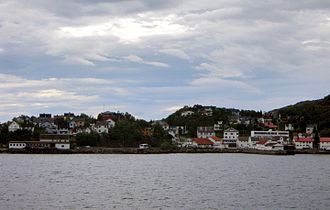 Lødingen - Lødingen village viewed from the ferry from Bognes