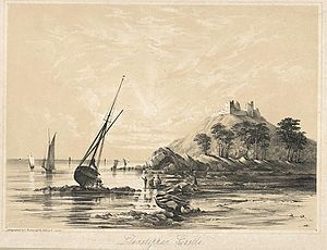Llansteffan Castle - Llansteffan Castle from the beach, c.1850