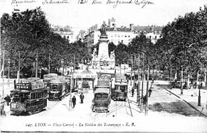 Lyon tramway - Tram station at Place Carnot at the beginning of the 20th century