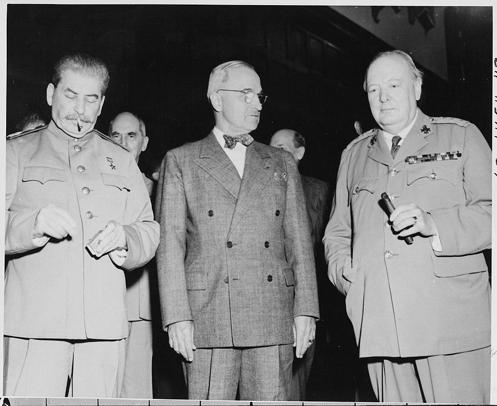 L to R, Soviet Prime Minister Josef Stalin, President Harry S. Truman, and Prime Minister Winston Churchill of Great... - NARA - 198774