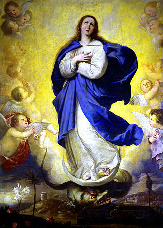 "Archdiocese of Manila - The Virgin Mary as the Immaculate Conception, patroness of the Archdiocese. Consecrated by Pope Pius XII's Papal Bull Impositi Nobis in 1942, the Immaculate Conception is also honoured as ""Principal Patroness"" of the Philippine Islands."