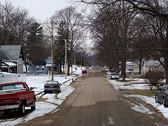 Lacon, Illinois - Residential street in winter