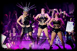 "LoveGame - The performance of ""LoveGame"" on the Born This Way Ball tour had Gaga wearing a Statue of Liberty-inspired headdress"