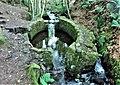Lady Kennedy's Bath, Glasslaw Burn, Dunnottar, Aberdeenshire. Sluices, etc from the foot bridge.jpg