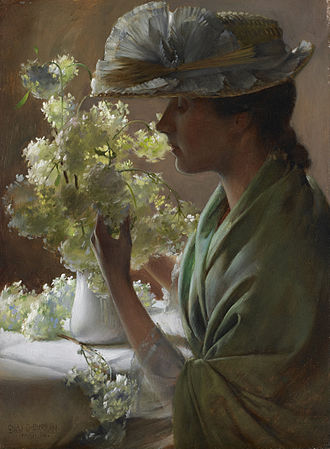 Charles Courtney Curran - Lady with a Bouquet. The artist's wife with flowers from the Viburnum 'Snowball' bush