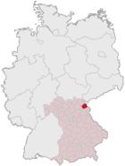 Lage des Landkreises Wunsiedel i. Fichtelgebirge in Deutschland