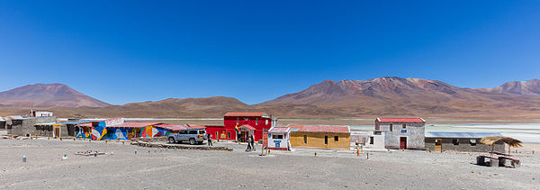 Colourful shop oasis near the Laguna Hedionda, Nor Lípez Province southwestern Bolivia.