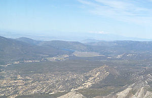 Lake Hemet - Aerial photo as seen from above the Anza Pass at 8,500 feet MSL.