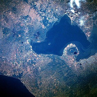 Lake Managua - January 1986 image of Lake Managua from space. North is to the left