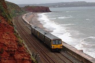 Riviera Line - Image: Langstone Rock GWR 143621+143620 down train