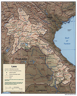 Outline of Laos - An enlargeable relief map of Laos