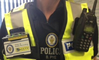 Body worn video (police equipment) - Body cam (VideoBadge) in use by a West Midlands Police officer