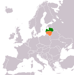 Map indicating locations of Latvia and Lithuania