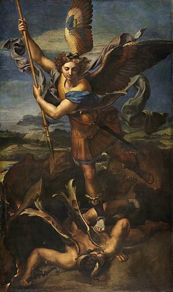 St. Michael Vanquishing Satan (1518) by Raphael, depicting Satan being cast out of heaven by Michael the Archangel, as described in Revelation 12:7-8