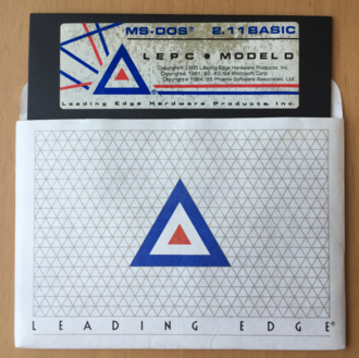 MS-DOS 2.11 boot disk for the Leading Edge Model D in its sleeve Leading Edge Model D Boot Disk for MS-DOS 2.11.png