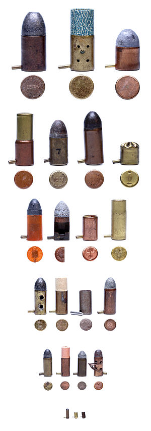 Pinfire cartridge - Selection of types of pinfire cartridges in order from 15mm, 12mm, 9mm, 7mm, 5mm to 2mm. Description of each cartridge is listed on the image's file page.