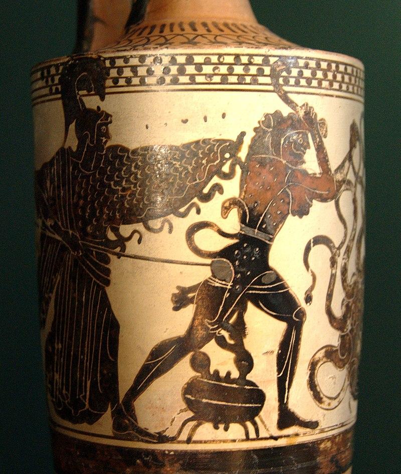 مبارزهٔ هرکول با هیدرا و مزاحمت خرچنگی که از جانب هرا فرستاده شده بود