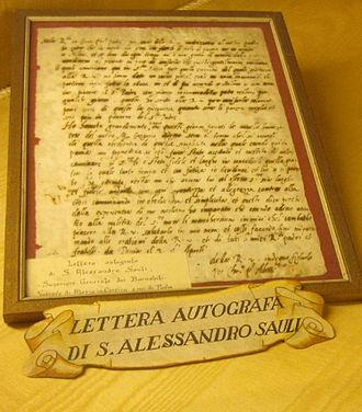 Alexander Sauli - A letter signed by St. Alexander Sauli