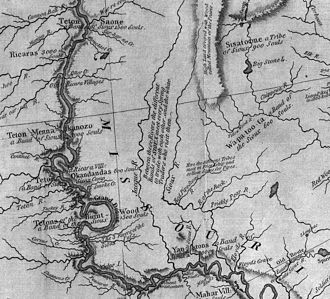James River (Dakotas) - This excerpt from the Lewis and Clark map of 1814 shows the rivers of western Iowa and eastern South Dakota. The James (Jacque) is seen near the left center of the map.