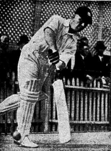 A left-handed cricketer hitting the ball