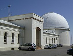 The main observatory building and the South (large) Dome, home of the 91-centimeter (36-inch) James Lick telescope.