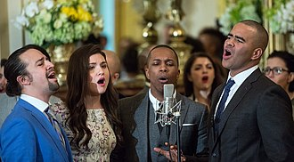 Hamilton (musical) - Cast members perform musical selections at the White House, 2016. L-R: Lin-Manuel Miranda, Phillipa Soo, Leslie Odom Jr., and Christopher Jackson
