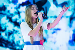 Lina Kuduzovic at stage of JESC 2015 (2).jpg