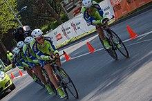 Gli uomini della Liquigas impegnati in una cronosquadre al Tour de Romandie 2009