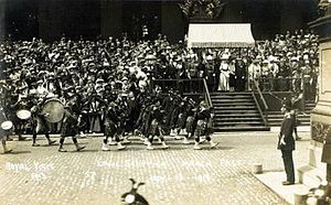 Liverpool Scottish - The Liverpool Scottish marching past King George V and Queen Mary during a royal visit to Liverpool, July 1913.