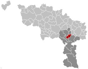 Lobbes - Image: Lobbes Hainaut Belgium Map
