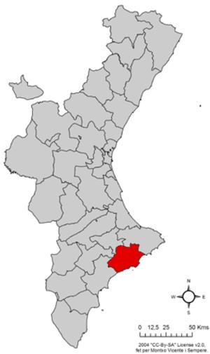 Marina Baixa - Image: Localització de la Marina Baixa respecte del País Valencià