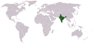 A map showing the location of India