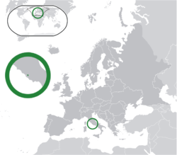 Location of  Vatican City  (green) on the European continent  (dark grey)  —  [Legend]