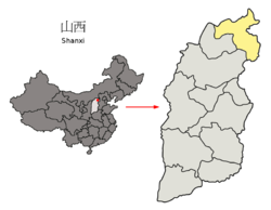 Location of Datong City jurisdiction in Shanxi