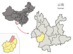Location of Fengqing County (pink) and Lincang Prefecture (yellow) within Yunnan province of China