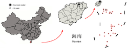 Location Sansha jurisdiction (in pink) in Hainan