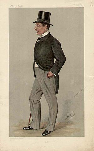 """Charles Boyle, 10th Earl of Cork - """"Sol"""" Viscount Dungarvan as caricatured by Spy (Leslie Ward) in Vanity Fair, October 1897"""